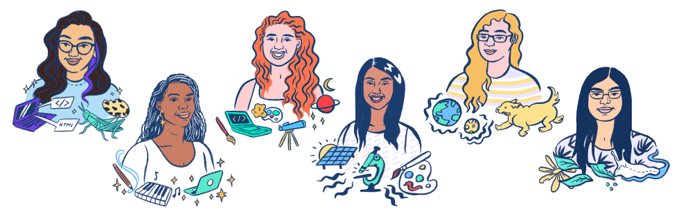 An illustration of all of our Science Ambassador Scholarship winners so far. You could be one of them!